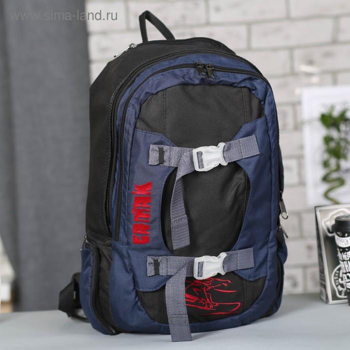 Рюкзак молодёжный на молнии, 2 отдела, 1 наружный карман, чёрный/серый