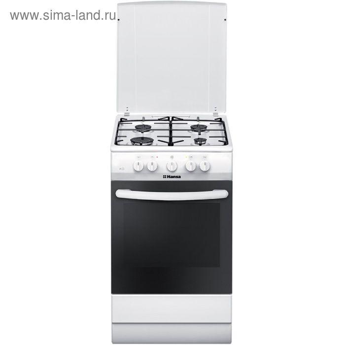 Плита газовая Hansa FCMW53140, 4 конфорки, 69 л, электрическая духовка, белая