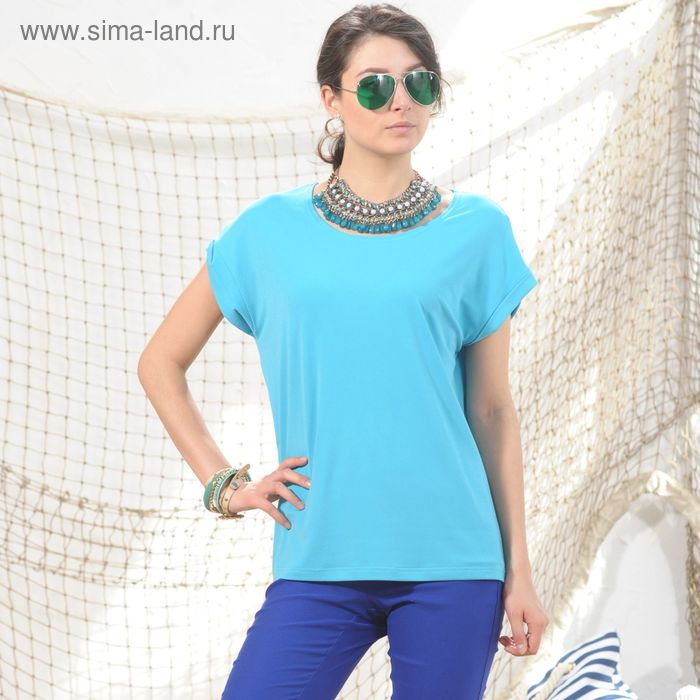 Блуза, размер 52, рост 164 см, цвет голубой (арт. 4974а С+)