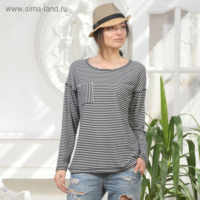 Блуза 4854, размер 44, рост 164 см, цвет черно-белый