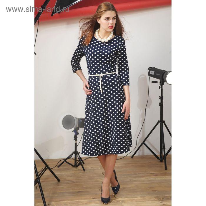 Платье 4917, размер 48, рост 164 см, цвет т.синий/белый