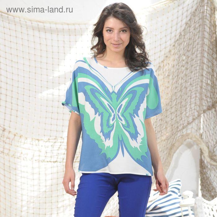 Блуза, размер 52, рост 164 см, цвет зелёный/синий/белый (арт. 4988а С+)