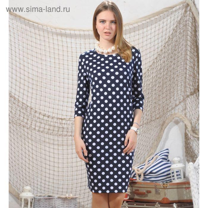 Платье 4967, размер 48, рост 164 см, цвет т.синий/белый