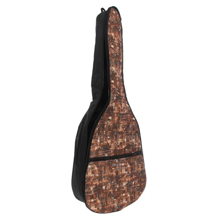 Чехол гитарный классический утепленный, с джинсовой фактурой, с 2 ремнями  МИКС