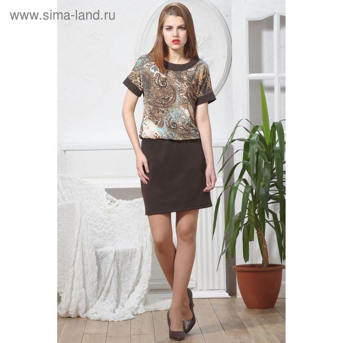 Платье 4904, размер 48, рост 164 см, цвет шоколад/бежевый