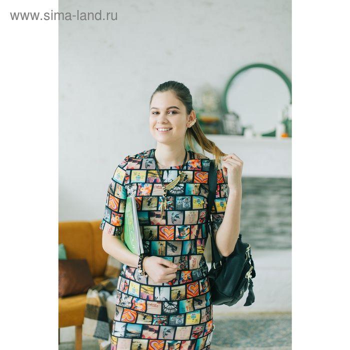 Платье 4912, размер 42, рост 164 см, цвет разноцветный/черный