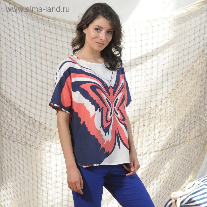 Блуза 4988, размер 44, рост 164 см, цвет т.синий/коралловый/белый