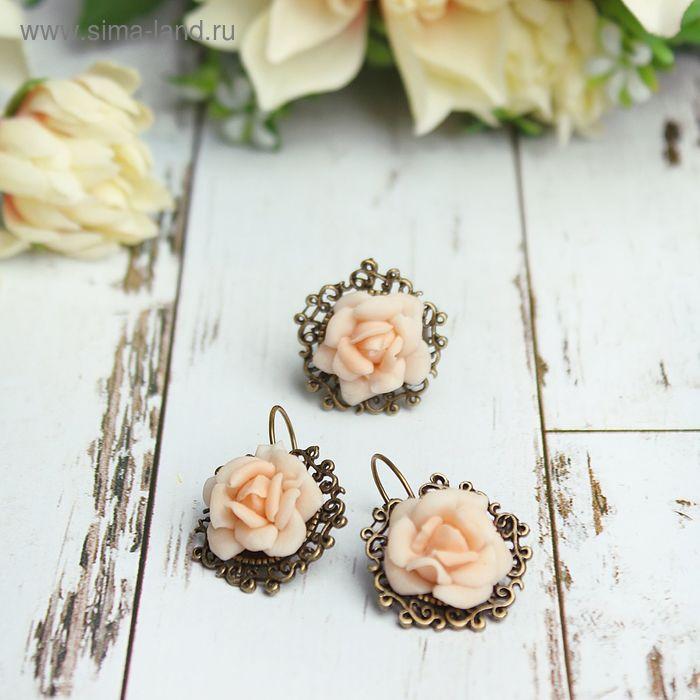"""Гарнитур: серьги, кольцо из полимерной глины """"Цветы розы"""", безразмерное, цвет персиковый"""