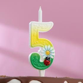 """Свеча для торта цифра """"Ромашки"""" разноцветная """"5"""""""