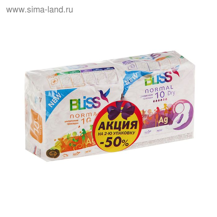 Прокладки «Bliss» Normal Soft, 10 шт + «Bliss» Normal dry, 10 шт