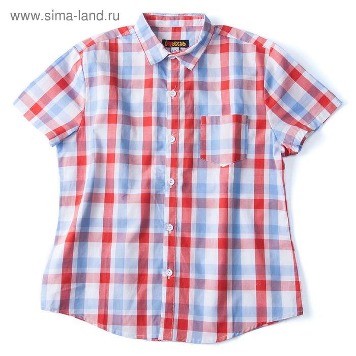 Рубашка для мальчика, рост 164 см, цвет красный, принт клетка (арт. 91023б)