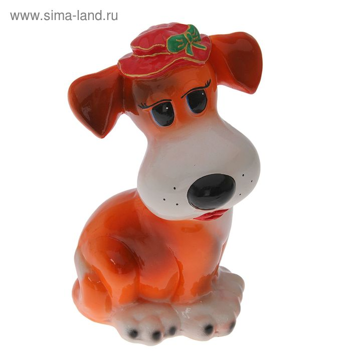 "Копилка ""Собака Шарлин"" глянец, рыжая"