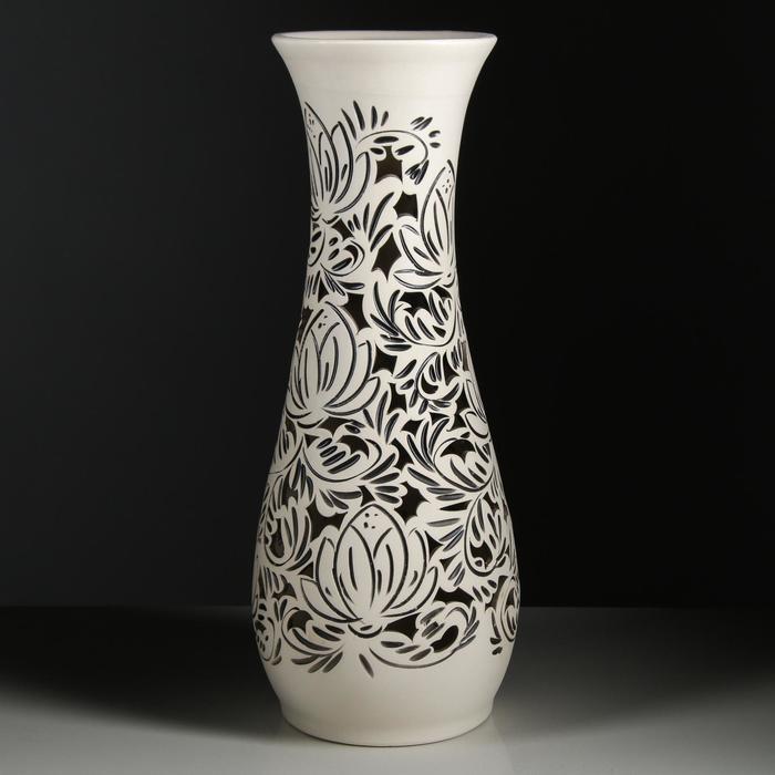 """Ваза напольная """"Осень"""" резка, цветы, 58 см, керамика"""