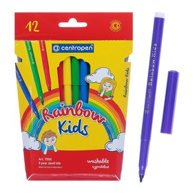 Rainbow Kids felt-tip pens, ergonomic girth area, flushable, ventilated cap, 12 colors, line thickness 1 mm.