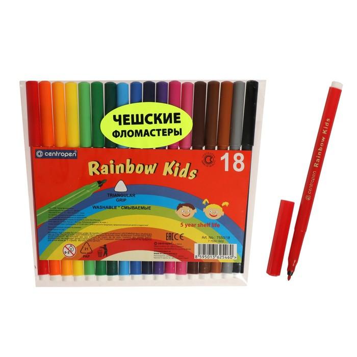 Фломастеры Rainbow Kids, 18 цветов, эргономичная зона обхвата, смываемые, вентилируемый колпачок, толщина линии 1 мм