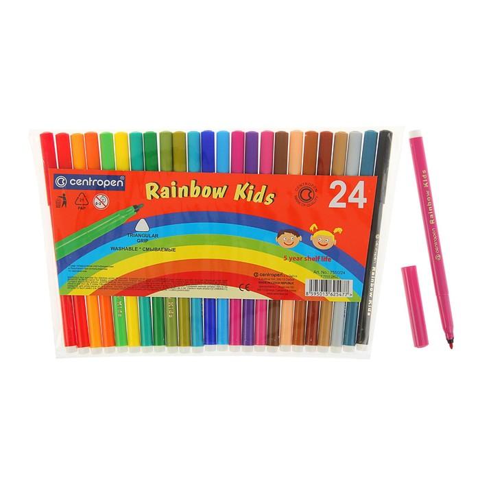 Фломастеры Rainbow Kids, 24 цвета, эргономичная зона обхвата, смываемые, вентилируемый колпачок, толщина линии 1 мм