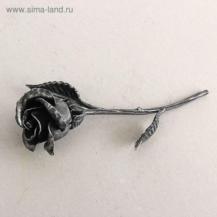 Роза кованая серебряная 32 см, ручная работа