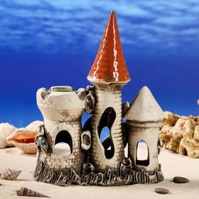 """Декорации для аквариума """"Замок тройной"""" средний"""