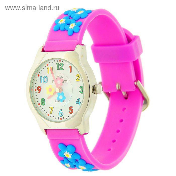 """Часы наручные """"Радуга"""", фиолетовые,  цветы"""