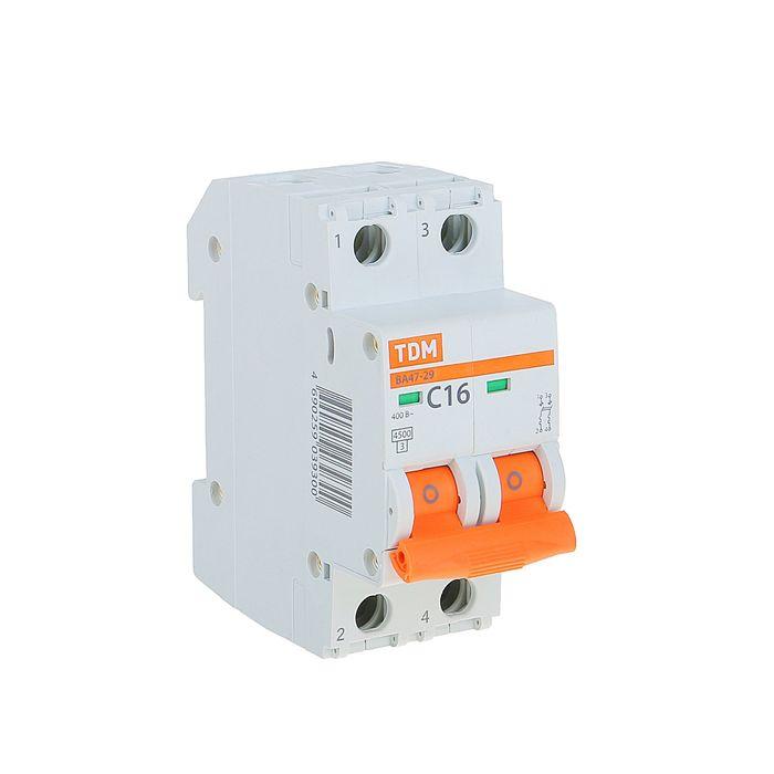 Выключатель автоматический TDM ВА47-29, 2п, 16 А, 4.5 кА, SQ0206-0093