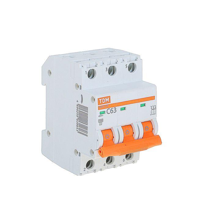 Выключатель автоматический TDM ВА47-29, 3п, 63 А, 4.5 кА, SQ0206-0115