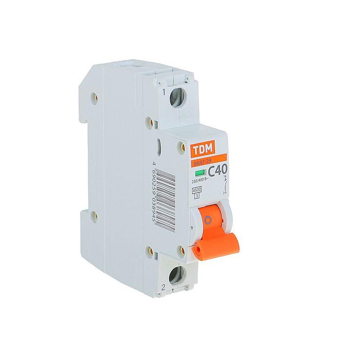 Выключатель автоматический TDM ВА47-29, 1п, 40 А, 4.5 кА, SQ0206-0078
