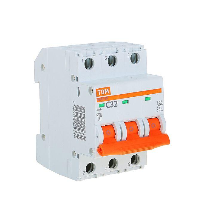 Выключатель автоматический TDM ВА47-29, 3п, 32 А, 4.5 кА, SQ0206-0112