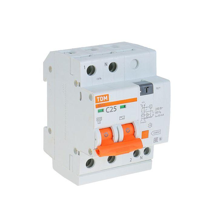 Дифференциальный автомат TDM АД12, 2п, 25 А, 30 мА, SQ0204-0011