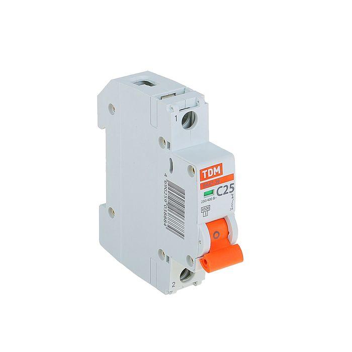 Выключатель автоматический TDM ВА47-29, 1п, 25 А, 4.5 кА, SQ0206-0076