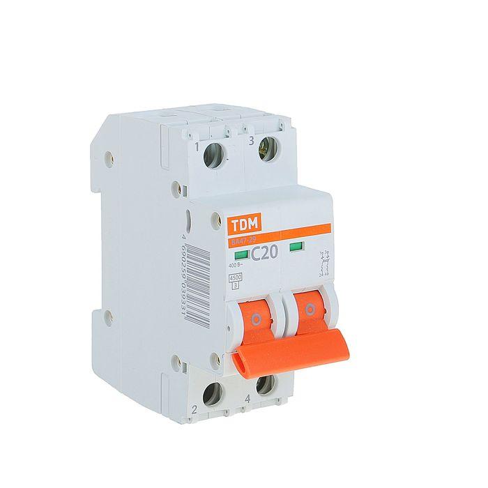 Выключатель автоматический TDM ВА47-29, 2п, 20 А, 4.5 кА, SQ0206-0094