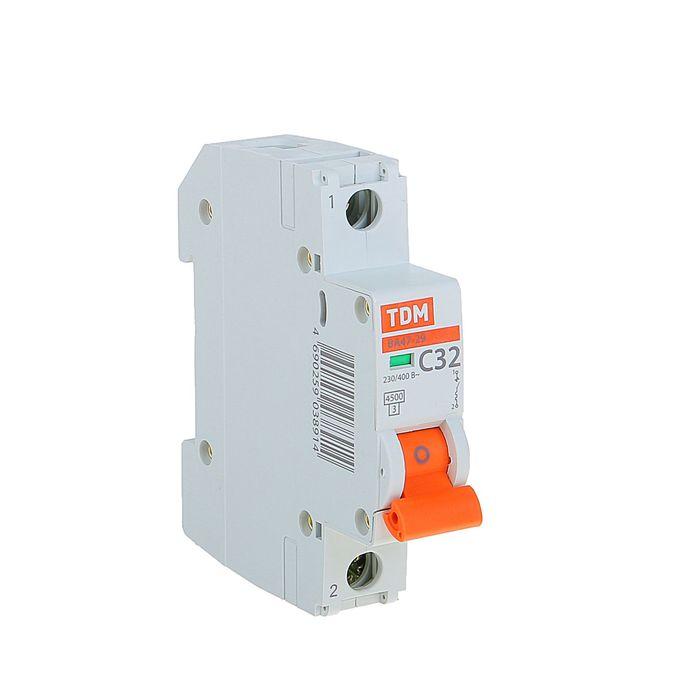 Выключатель автоматический TDM ВА47-29, 1п, 32 А, 4.5 кА, SQ0206-0077