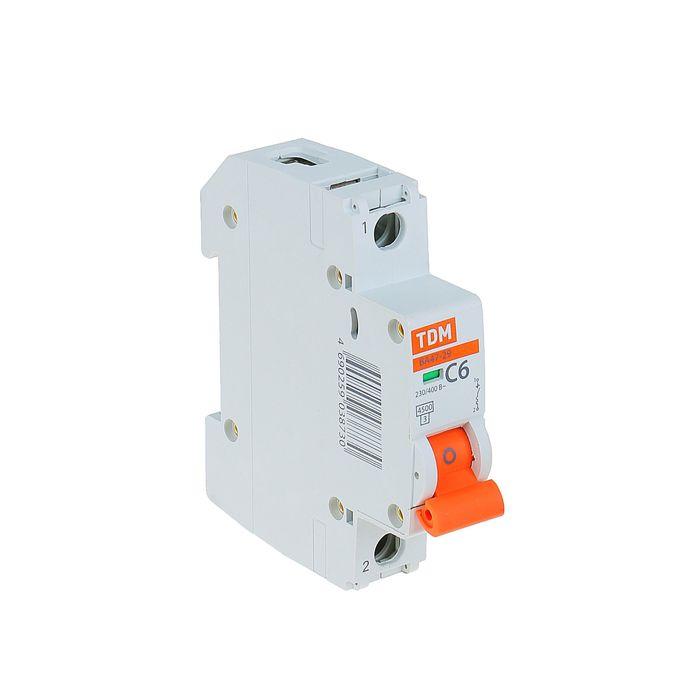 Выключатель автоматический TDM ВА47-29, 1п, 6 А, 4.5 кА, SQ0206-0070