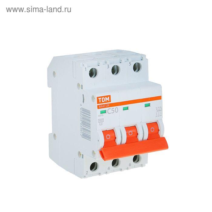 Выключатель автоматический TDM ВА47-29, 3п, 50 А, 4.5 кА, SQ0206-0114