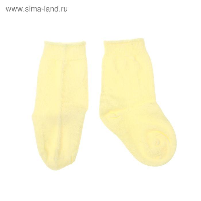 Носки однотонные, размер 10-12, цвет светло-жёлтый 004/6