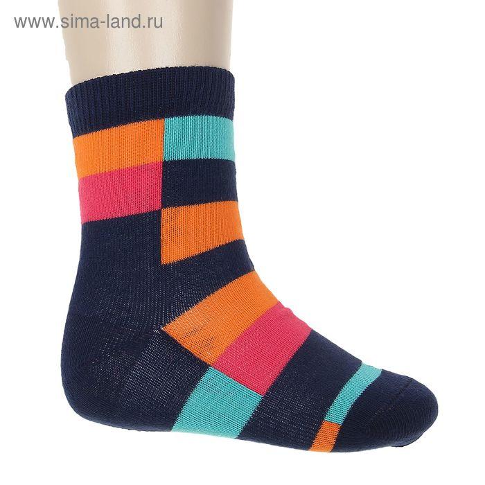 """Носки """"Квадратики"""", размер 18-20, цвет синий 002/6"""