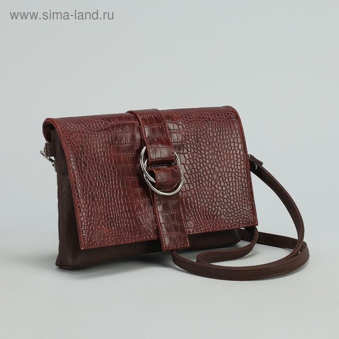 Сумка женская на молнии, 1 отдел, 1 наружный карман, длинный ремень, коричневая
