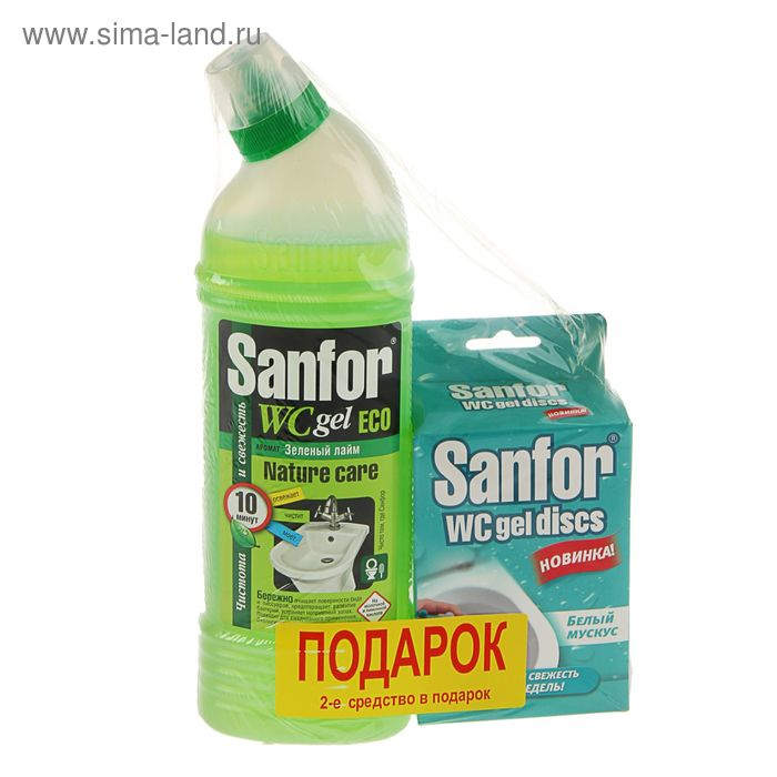 Средство Sanfor Eco для биде и писсуаров 750г + Sanfor wc discs в подарок
