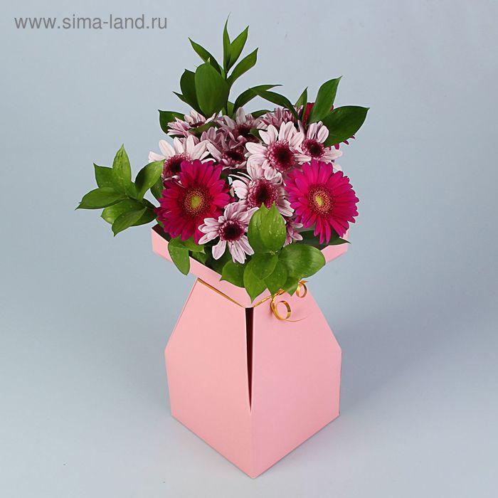 """Пакет для цветов """"Хэйко"""" 15 х 15 х 28 см, сборная, ваза, розовая"""