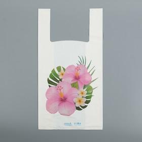"""Пакет """"Цветы"""", полиэтиленовый, майка, 28 х 55 см, 35 мкм"""