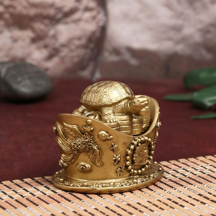 "Шкатулка нэцке бронза ""Черепаха на монетах"" 7х9х6,5 см"