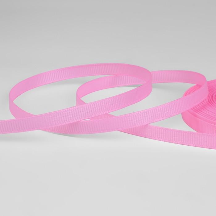 Лента репсовая, 6мм, 22±1м, №04, цвет розовый