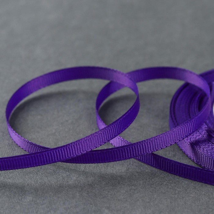 Лента репсовая, 6мм, 22±1м, №35, цвет фиолетовый
