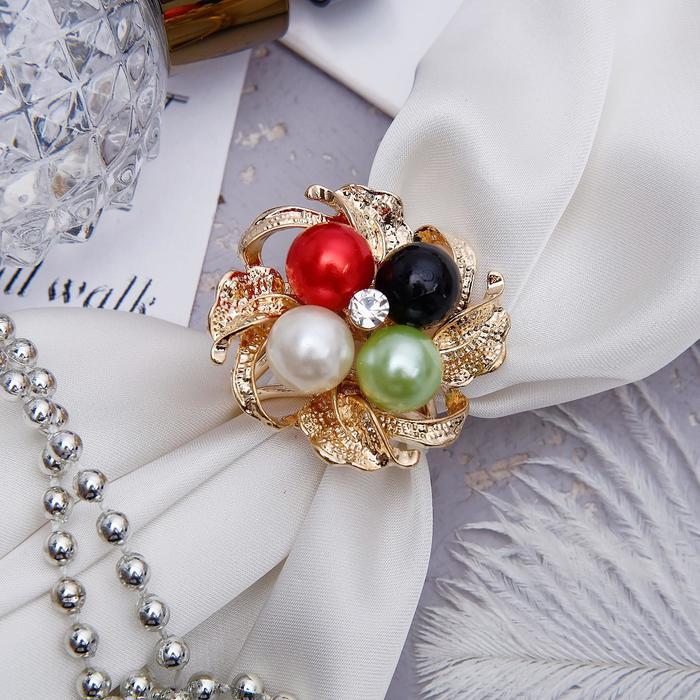 """Кольцо для платка """"Цветок"""" семицветик, цветное в золоте - фото 274891679"""