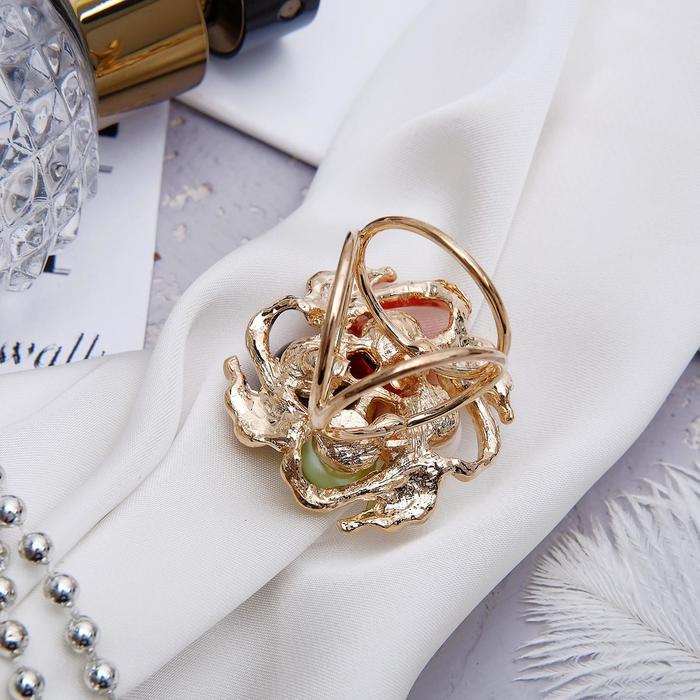 """Кольцо для платка """"Цветок"""" семицветик, цветное в золоте - фото 274891680"""