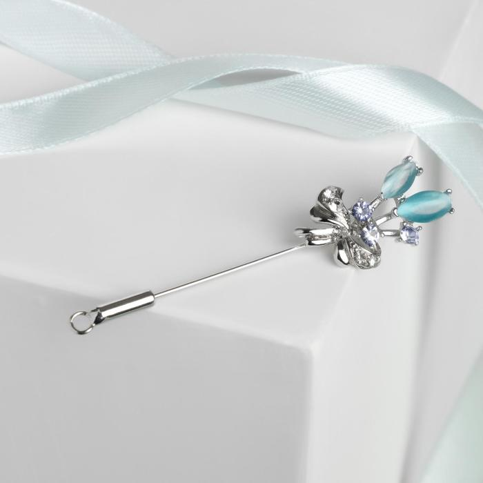"""Булавка """"Цветы"""" букет, 6,3 см, цвет голубой в серебре - фото 7468794"""