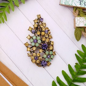 """Brooch """"flower"""" bouquet, the color of purple-gold in blackened gold"""