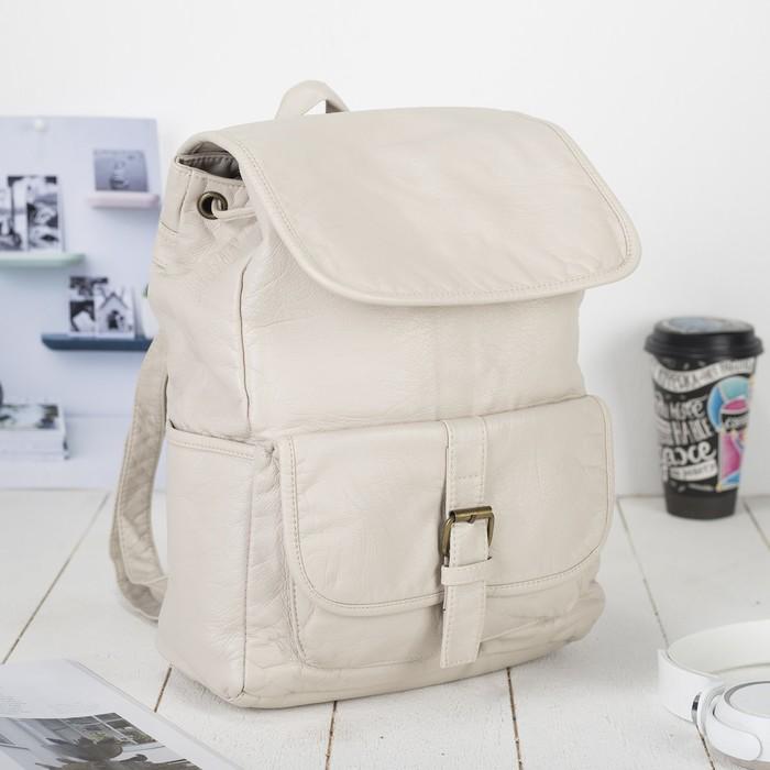 Рюкзак молодёжный, отдел на шнурке, 2 наружных кармана, 2 боковых кармана, цвет молочный - фото 440967519