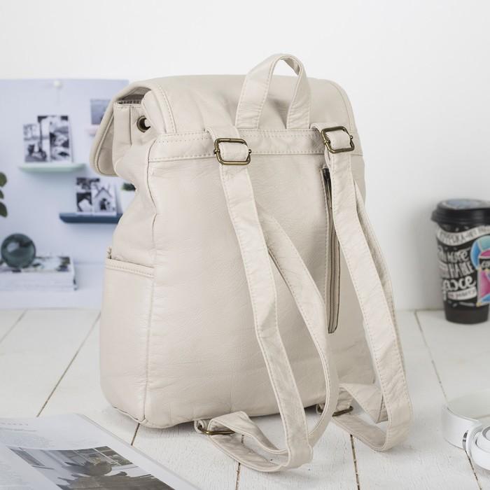 Рюкзак молодёжный, отдел на шнурке, 2 наружных кармана, 2 боковых кармана, цвет молочный - фото 440967520