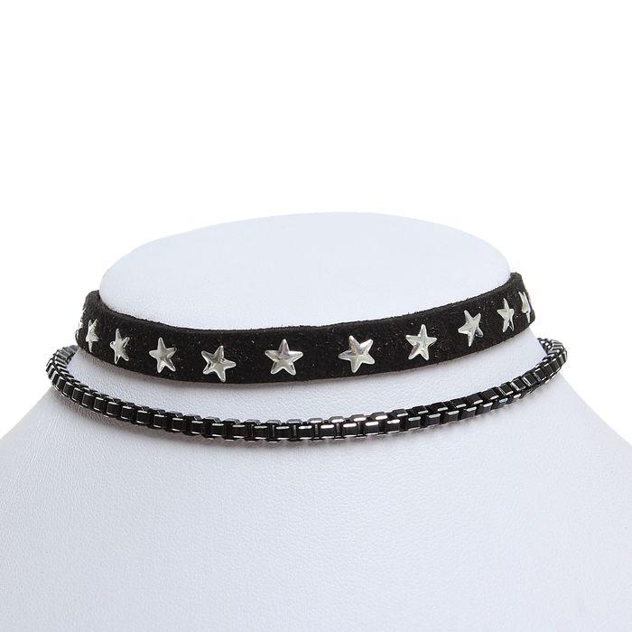"""Чокер """"Звёзды"""", цвет чёрно-серебряный"""