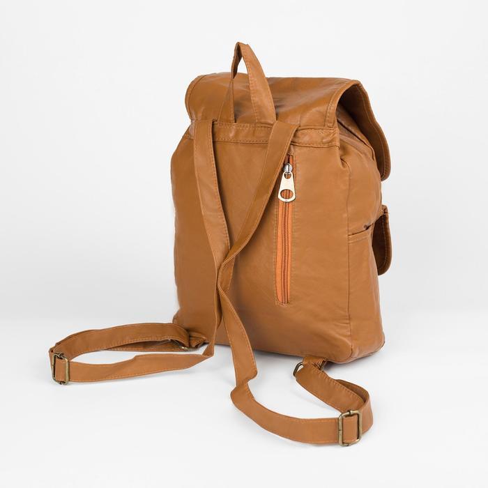 Рюкзак молодёжный, отдел на шнурке, 2 наружных кармана, 2 боковых кармана, цвет коричневый - фото 415622515
